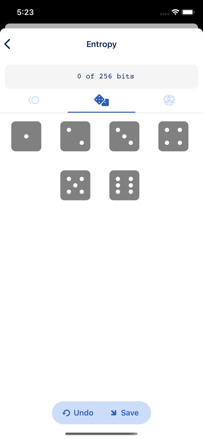6-sided dice roll manual entropy