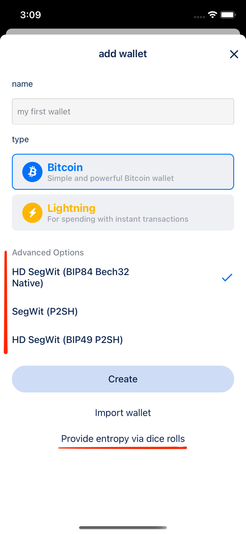 Add Bitcoin wallet with advanced options