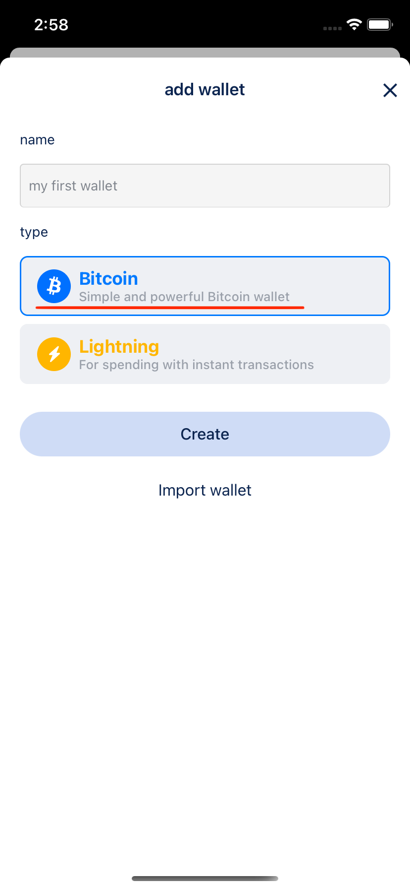 Add bitcoin wallet page