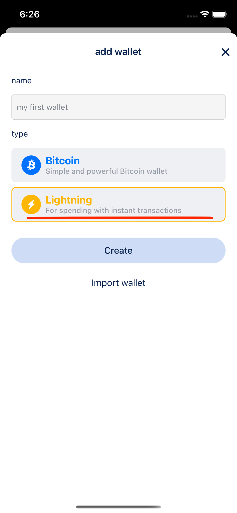 Add Lightning wallet