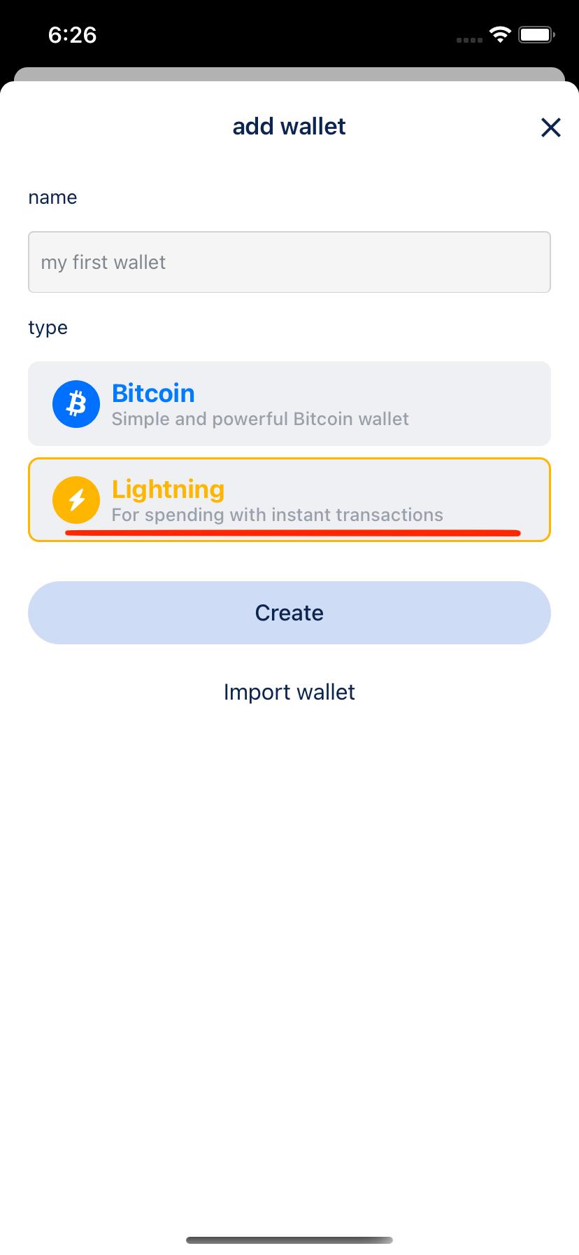 Add Lightning wallet