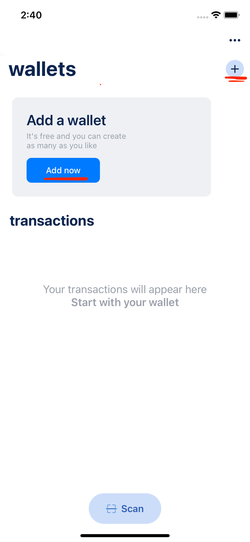 BlueWallet's first page