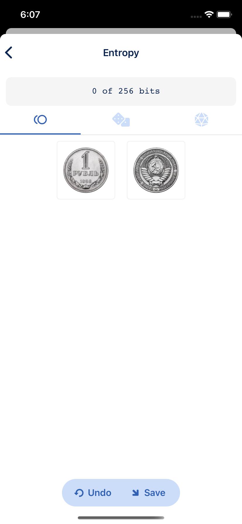Coin flip manual entropy